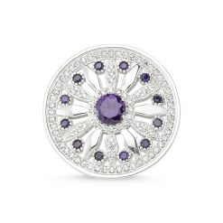 Cubic Zirconia Swarovski Round Brooch by Boutique Ottoman Exclusive Silver Brooches and Pins Collection BOW-8042