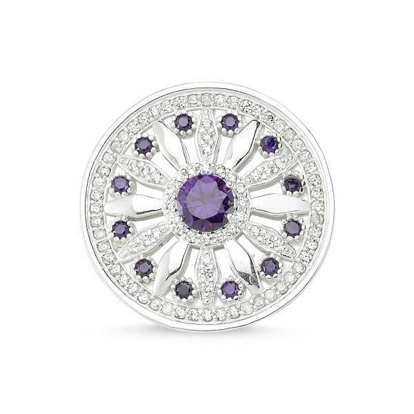 Cubic Zirconia Swarovski Round Brooch | Boutique Ottoman Exclusive