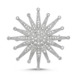 Cubic Zirconia Swarovski Sun Brooch by Boutique Ottoman Exclusive Silver Brooches and Pins Collection BOW-8095