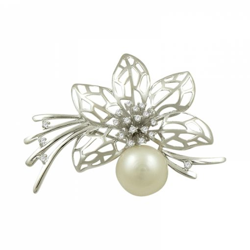 Genuine Pearl & Cubic Zirconia Swarovski Brooch by Boutique Ottoman Exclusive Silver Brooches and Pins Collection BOW-8088