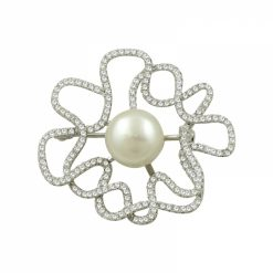 Genuine Pearl & Cubic Zirconia Swarovski Brooch by Boutique Ottoman Exclusive Silver Brooches and Pins Collection BOW-8092