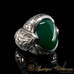 Fatih Collection Green Aqeeq Hand Engraved Ring