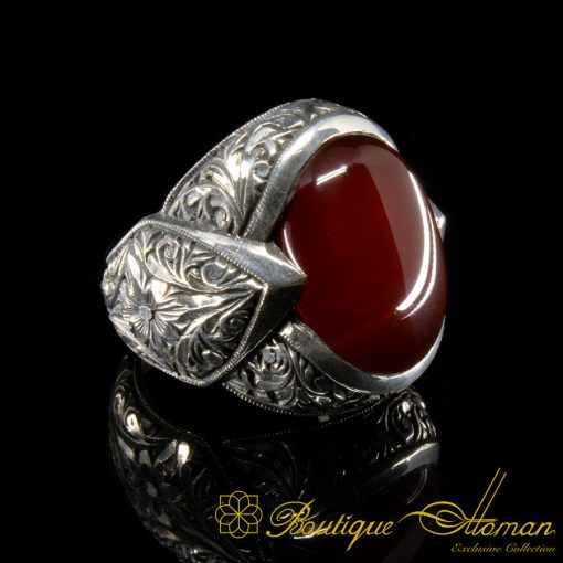 Fatih Collection Red Liver Aqeeq Hand Engraved Ring