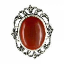 Marcasite & Agate Brooch by Boutique Ottoman Exclusive Silver Brooches and Pins Collection BOW-8035