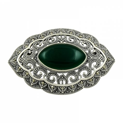 Marcasite Brooch by Boutique Ottoman Exclusive Silver Brooches and Pins Collection BOW-8028