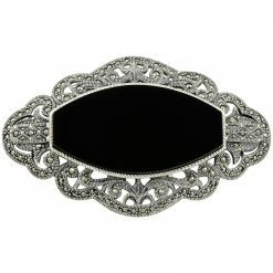 Marcasite Brooch by Boutique Ottoman Exclusive Silver Brooches and Pins Collection BOW-8036
