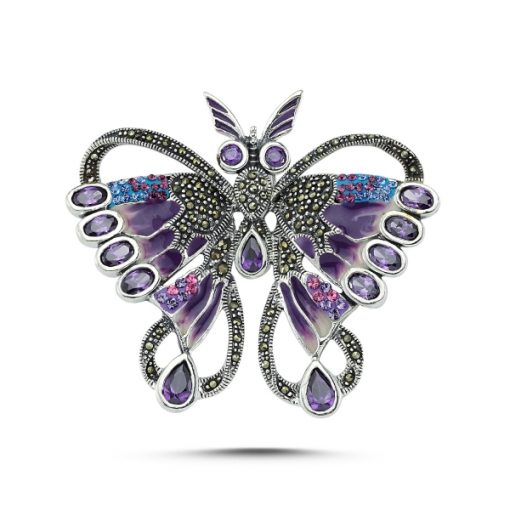 Marcasite Brooch by Boutique Ottoman Exclusive Silver Brooches and Pins Collection BOW-8063