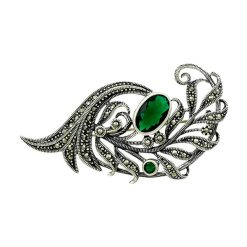 Marcasite Silver Brooch by Boutique Ottoman Exclusive Silver Brooches and Pins Collection BOW-8020