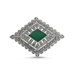 Marcasite Stone Brooch by Boutique Ottoman Exclusive Silver Brooches and Pins Collection BOW-8029