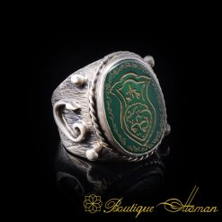 Nalain-Shareef-Green-Aqeeq-Silver-Men-Ring