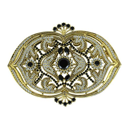 Ottoman Style Cubic Zirconia Swarovski Brooch by Boutique Ottoman Exclusive Silver Brooches and Pins Collection BOW-8040