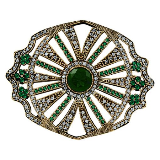 Ottoman Style Cubic Zirconia Swarovski Brooch by Boutique Ottoman Exclusive Silver Brooches and Pins Collection BOW-8067