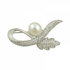 Pearl & Cubic Zirconia Swarovski Brooch by Boutique Ottoman Exclusive Silver Brooches and Pins Collection BOW-8090