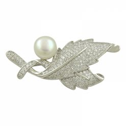 Pearl & Cubic Zirconia Swarovski Leaf Brooch by Boutique Ottoman Exclusive Silver Brooches and Pins Collection BOW-8091
