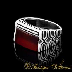 Rectangle Modern Red Aqeeq Men Ring