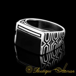 Rectangle Modern Onyx Men Ring