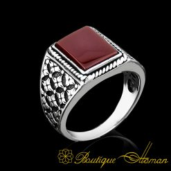 Rectangle Red Aqeeq Daily Silver Ring