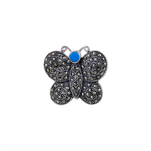 Silver Gemstone Brooch by Boutique Ottoman Exclusive Silver Brooches and Pins Collection BOW-8051