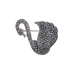 Silver Gemstone Brooch by Boutique Ottoman Exclusive Silver Brooches and Pins Collection BOW-8059