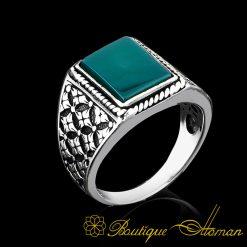 green-square-aqeeq-silver-modern-men-ring
