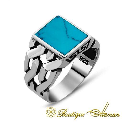Square Modern Turquoise Feroza Ring