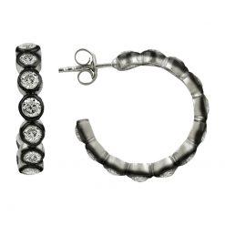 3mm Swarovski Big Eternity Hoop Earrings With Black - Turkish Silver Jewelry - BOW-4465