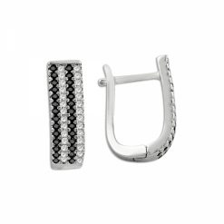 4 Line Swarovski J Shaped Earrings - Turkish Silver Jewelry - BOW-4395