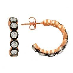 4mm Swarovski Big Eternity Hoop Earrings With Black - Turkish Silver Jewelry - BOW-4461