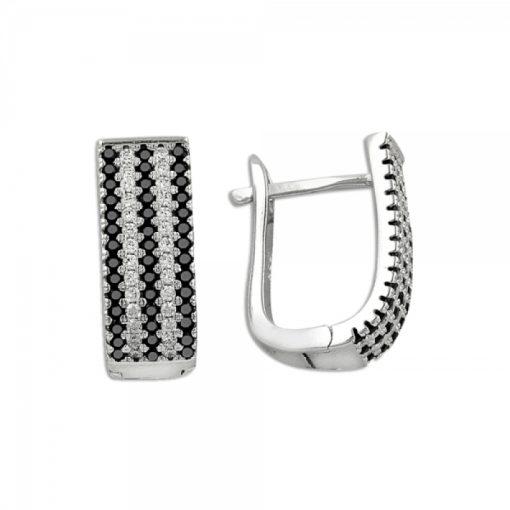 5 Line Swarovski J Shaped Earrings - Turkish Silver Jewelry - BOW-4394
