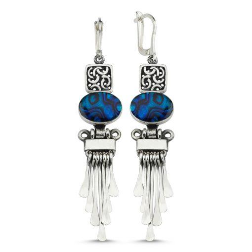 Abalone Handmade Earrings - Turkish Silver Jewelry - BOW-4049