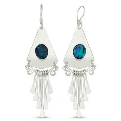 Abalone Handmade Earrings - Turkish Silver Jewelry - BOW-4064