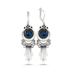 Abalone Handmade Earrings - Turkish Silver Jewelry - BOW-4085