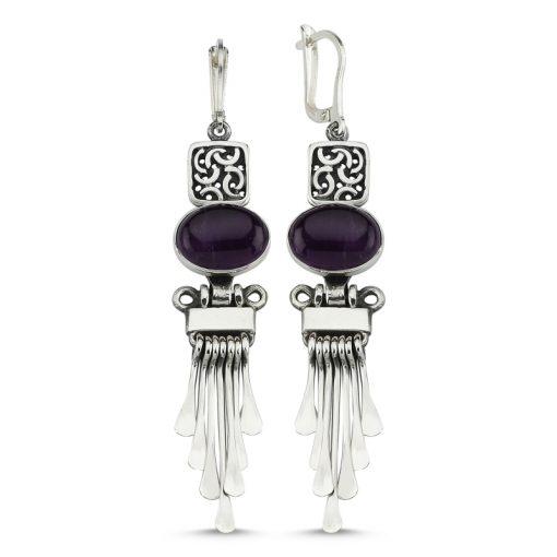 Amethyst Stone Handmade Earrings - Turkish Silver Jewelry - BOW-4056