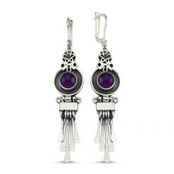 Amethyst Stone Handmade Earrings - Turkish Silver Jewelry - BOW-4069