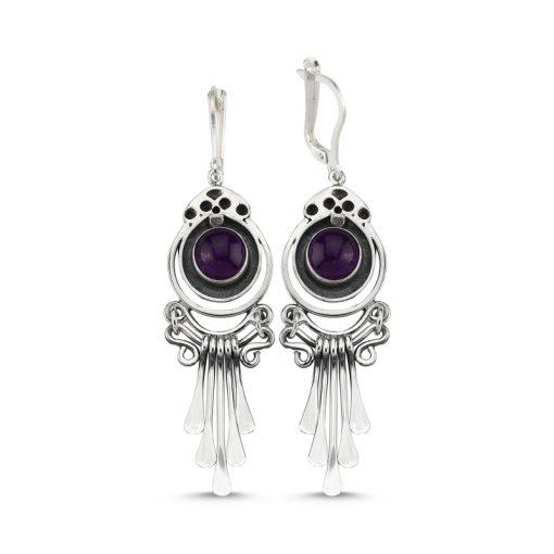 Amethyst Stone Handmade Earrings - Turkish Silver Jewelry - BOW-4084