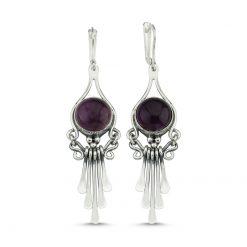 Amethyst Stone Handmade Earrings - Turkish Silver Jewelry - BOW-4096