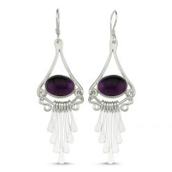 Amethyst Stone Handmade Earrings - Turkish Silver Jewelry - BOW-4102
