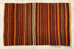 Stripped Antique Turkish Wool Rug Handmade