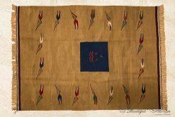 Antique Tulip Rug Carpet Wool Handmade 50 Years old Anatolian
