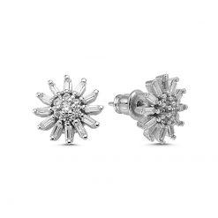 Baguette Swarovski Earrings - Turkish Silver Jewelry - BOW-4535