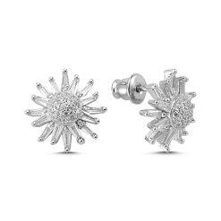 Baguette Swarovski Earrings - Turkish Silver Jewelry - BOW-4536