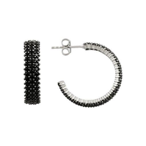 Black Swarovski 3 Line Eternity Hoop Earrings - Turkish Silver Jewelry - BOW-4410