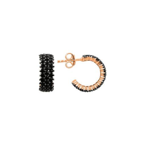 Black Swarovski 3 Line Eternity Hoop Earrings - Turkish Silver Jewelry - BOW-4553