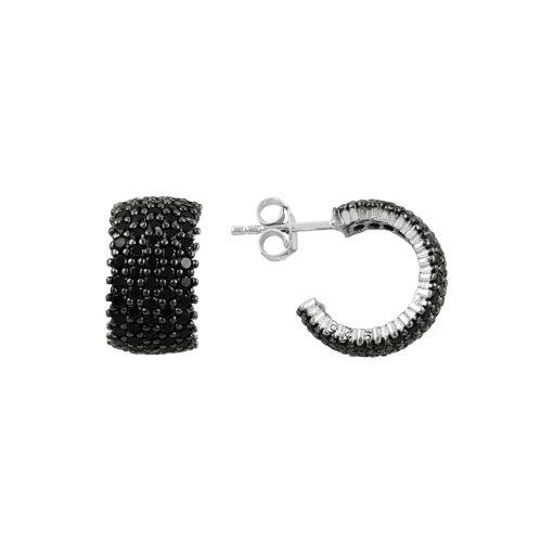 Black Swarovski 5 Line Eternity Hoop Earrings - Turkish Silver Jewelry - BOW-4406