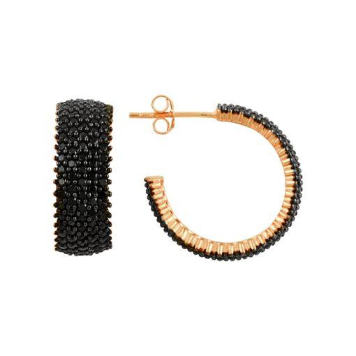 Black Swarovski 5 Line Eternity Hoop Earrings - Turkish Silver Jewelry - BOW-4440