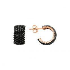 Black Swarovski 5 Line Eternity Hoop Earrings - Turkish Silver Jewelry - BOW-4554
