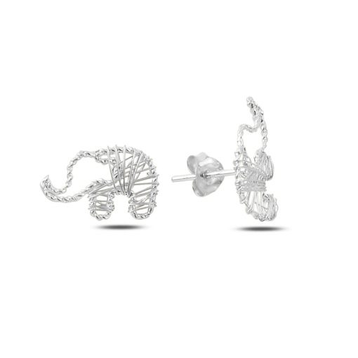 Braided Wire Nest Elephant Stud Earrings - Turkish Silver Jewelry - BOW-4349