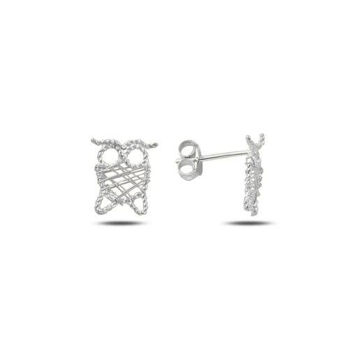 Braided Wire Nest Owl Stud Earrings - Turkish Silver Jewelry - BOW-4351