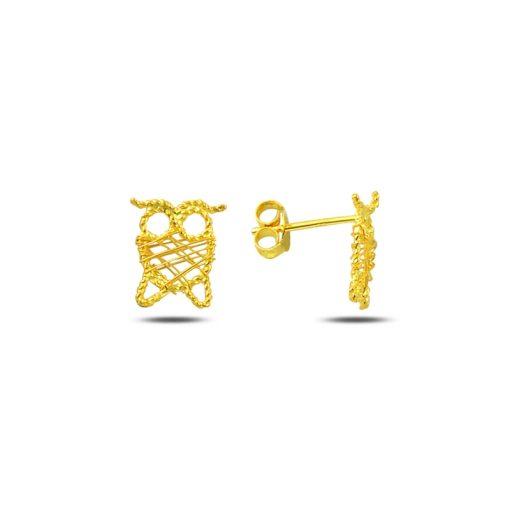 Braided Wire Nest Owl Stud Earrings - Turkish Silver Jewelry - BOW-4352
