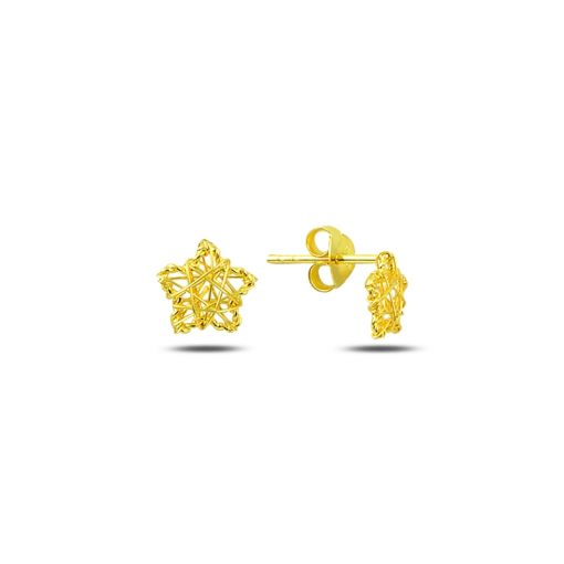 Braided Wire Nest Star Stud Earrings - Turkish Silver Jewelry - BOW-4362